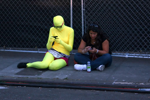 Yellow Lady Texting