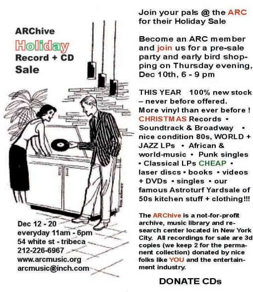 ARC Holiday Record + CD Sale 2009
