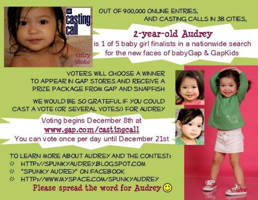 Spunky Audrey GapKids and babyGap Casting Call Finalist