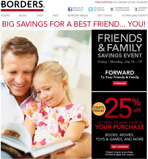 Borders Friends and Family Coupon