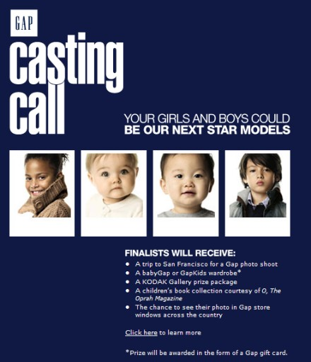 2007 Baby Gap Casting Call Contest