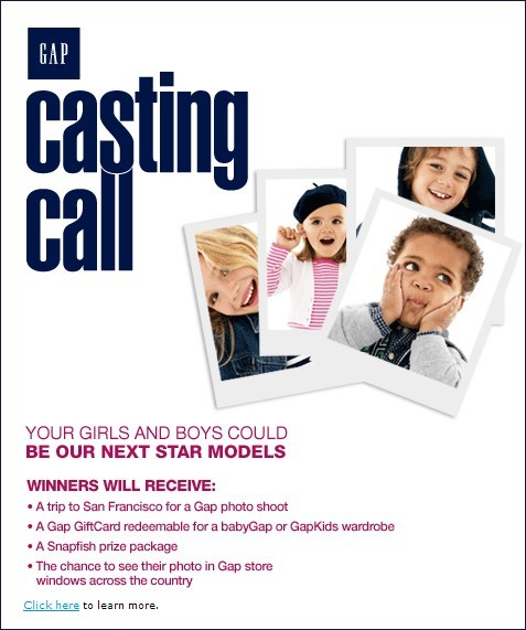 GapKids and babyGap Casting Call