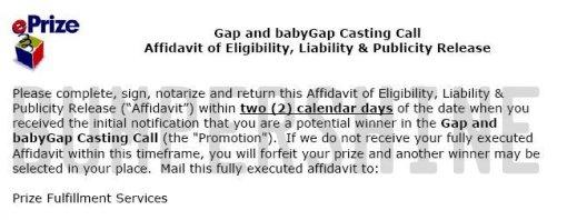 babyGap & GapKids Finalist Affidavit