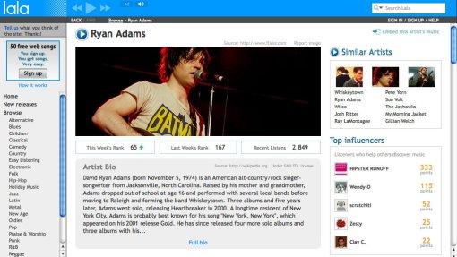 Lala.com Ryan Adams Artist Page