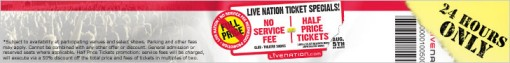 Live Nation No Fee Half Price Wednesdays