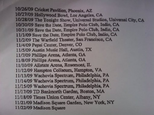Phish 2009 Fall Tour Schedule
