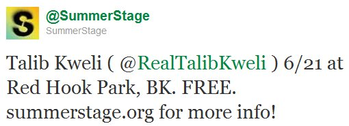 Summerstage 2011 Opening Tweet