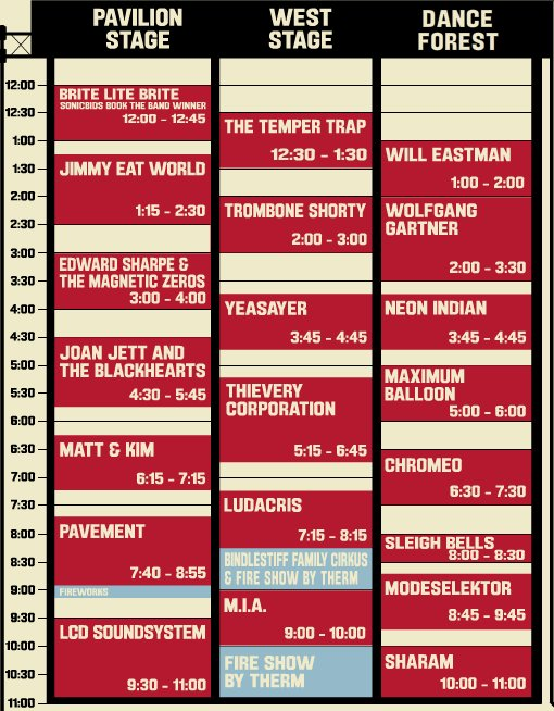 2010 Virgin Free Festival Schedule