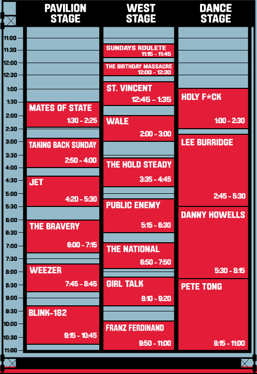 2009 Virgin Free Festival Schedule