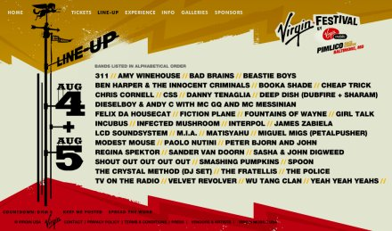 Virgin Festival 2007 Lineup | Click for larger image